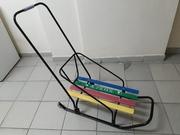 Санки со спинкой,  ручкой и колесиками в отличном состоянии - Бобек